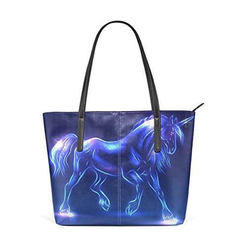 COOSUN Hada del unicornio Con Destellos de la PU de cuero bolso monedero y bolsos de la bolsa de asas para las mujeres Medio muticolour