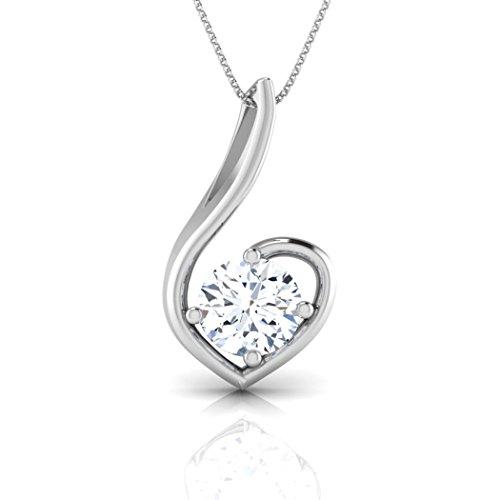 18K Or Blanc 0,3CT TW Round-cut-diamond (IJ   SI) Pendentif