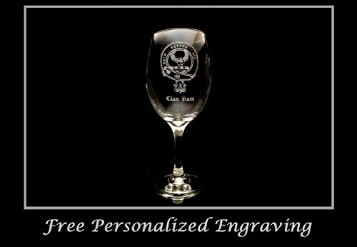 - Ross Family Scottish Clan Crest - Clear Wine Glass 18oz - Free Personalized Engraving, Large Wine Glass, Celtic Decor, Scottish Wedding
