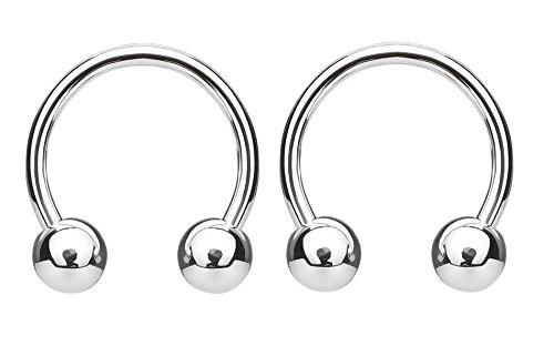 - Pierced Owl G23 Solid Titanium Ball End Horseshoe Barbells - Sold as a Pair (16GA - 3/8