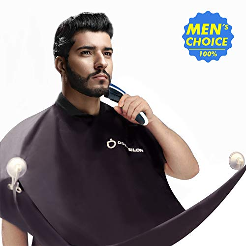 Beard Apron, Beard Clippings Catcher for Shaving and Trimming with Waterproof Smooth Surface, Adjustable Hook and Loop, Beard Grooming Kit, with 2 Strong Suction Cups-Black