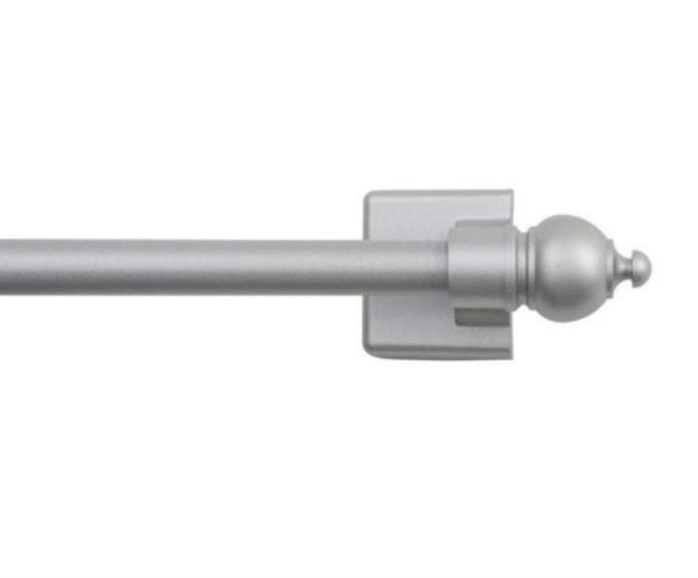 Satin Silver, Cafe Magnetic Curtain Rod, 16'' - 28'' by Unknown