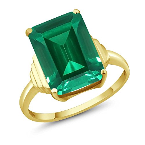 Gem Stone King 18K Yellow Gold Plated Silver Emerald Cut Green Simulated Emerald Women's Ring (6.50 Cttw, Available in size 5, 6, 7, 8, 9) ()
