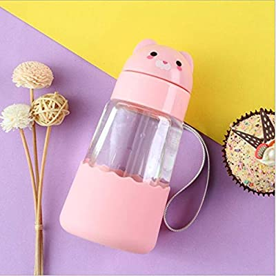 Botella De Agua De Cristal Diseño De Animales Taza De Agua Con Pajita Para Niños Diseño