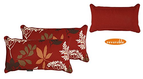 Bossima Outdoor Red/Brown Floral Rectangle Toss Pillow, Corded, Set of 2