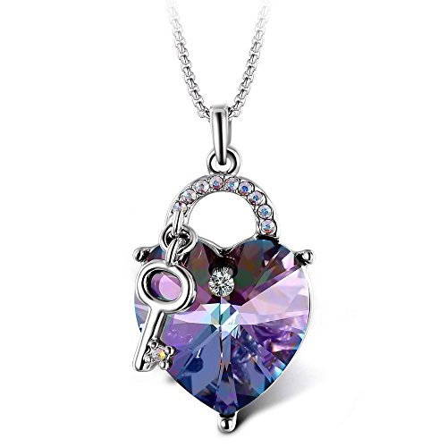 Crystal Key Necklace (T400 Jewelers [Deal of the Day] Lock and Key Heart Shape Pendant Necklace Made with Swarovski Crystals, Mother's Day Gift (Purple))