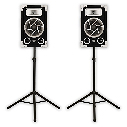 Acoustic Audio GX-400 PA Karaoke DJ Speakers 1200 Watts 2 Way Pair New with Stands GX-400-PK2 by Acoustic Audio by Goldwood