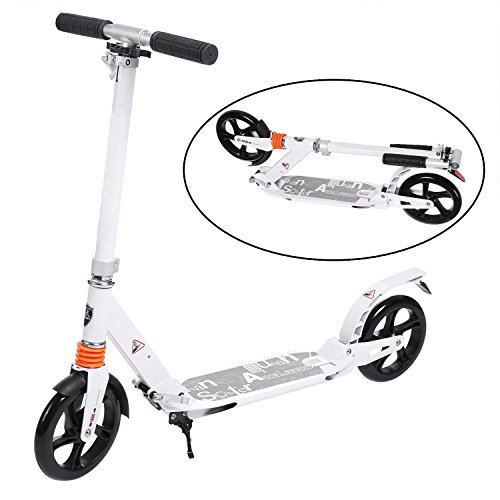 Tomasar Adult Kick Scooter Folding City Commuter Scooter Adjustable Height with 2 Large 200mm Wheels and Dual Spring Comfort Suspension for Adults Teens Kids 12+ (Type 1-White)