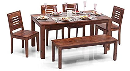 Woodstock Furniture Capra 6 Seater Dining Table Set With Bench