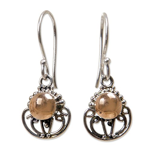 NOVICA .925 Sterling Silver Dangle Earrings with Yellow Gold Plated Accents, Eastern Sun' ()