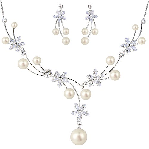 EleQueen Women's Silver-tone CZ Simulated Pearl Flower Filigree Bridal Necklace Earrings Set Ivory Color (Womens Ivory Necklace)