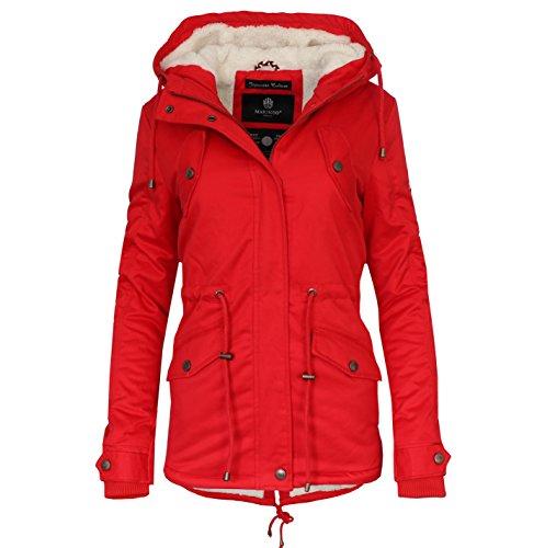 Marikoo Damen Winter Jacke Stepp Parka Mantel Teddyfell Warm Gefüttert  Manolya XS XXL Rot K0eY3i2Lc