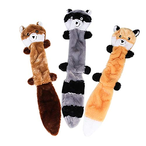 Vansee Plush Sound, Dog Toy Play Funny Pet Puppy Chew Squeaky Plush Sound Toys Raccoon Squirrel 3PCS