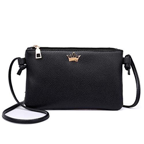 Leather Shoulder Coin Bag Solid Crossbody Bags Crown Women Bafaretk BLACK Bags Messenger Fashion HwqEnY