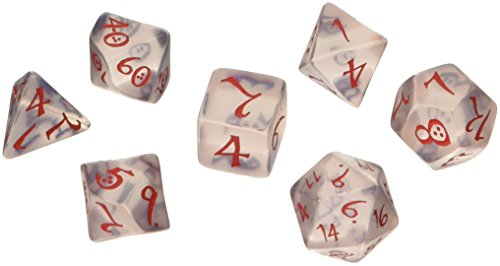 Classic RPG 7 Dice, Transparent Blue/Red