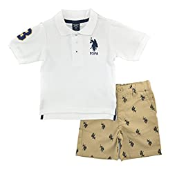 U.S. Polo Assn. Little Boys\' Twill Pony Print Short and Pique Polo, White ,5