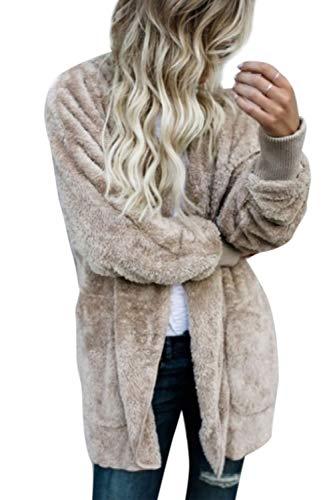 Outwear Le Giacche Donne Davanti Giacca Cachi Cappotto Aperta Incappucciato Tasche Fuzzy OzO1nwPgq