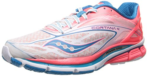 Saucony Womens Cortana 4 Running Shoe White/Pink/Blue