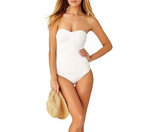 Anne Swimsuit Bain Bandeau piece shirred Front Femme Blanc Cole 1 Maillot One Pièce De UrwRqU6x