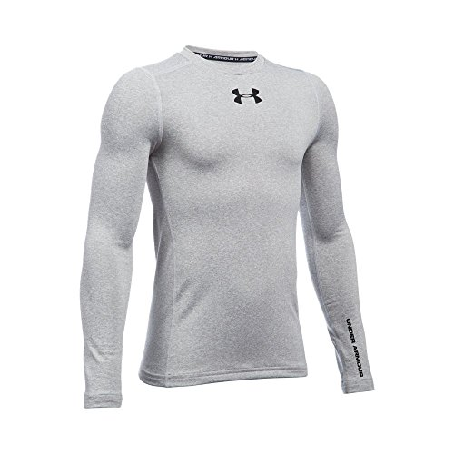 Under Armour Boys ColdGear Armour Crew, True Gray Heather /Black, Youth Large
