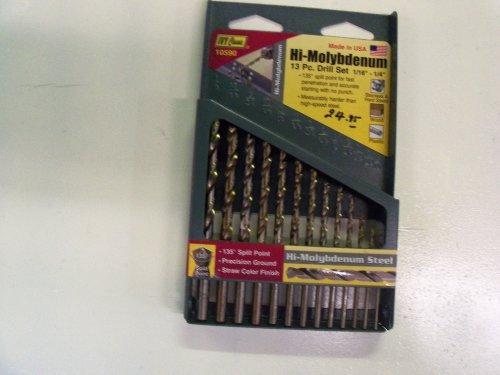 IVY Classic 10590 13-Piece Hi-Molybdenum Steel Drill Bit Set, 135-Degree Split Point, USA, Sturdy Metal Case by IVY Classic