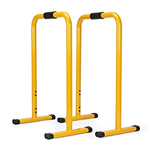 AHHC INC Dip Station Push Up Stand Stretch Bar Yellow 2 Count