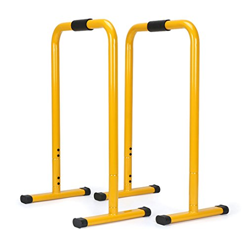 AHHC INC Dip Station Push Up Stand Stretch Bar Yellow 2 Count by AHHC INC