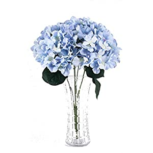 Charmly 7 Big Head Artificial Hydrangea Flowers Fake Silk Bouquet Flower for Home Hotel Wedding Party Garden Floral Decor Approx 17'' high 6