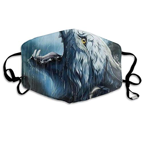 Mouth Mask Earloop Face Masks Premium Polyester Breathable Mask - Wolf in The Rain Adjustable Elastic Band Windproof Mouth-Muffle, Reusable & Washable, Anti Flu ()