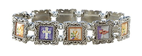 first-holy-communion-silver-tone-epoxy-picture-bead-bracelet-7-inch