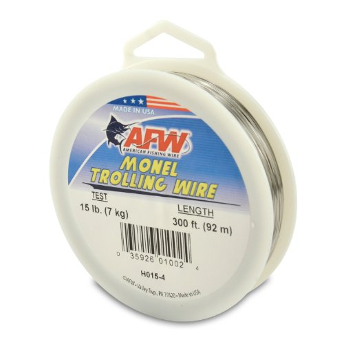 American Fishing Wire Monel Trolling Wire (Single Strand), Bright Color, 15 Pound Test, 300-Feet ()