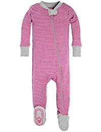 Baby Girls' Sleeper Pajamas, Zip Front Non-Slip Footed...