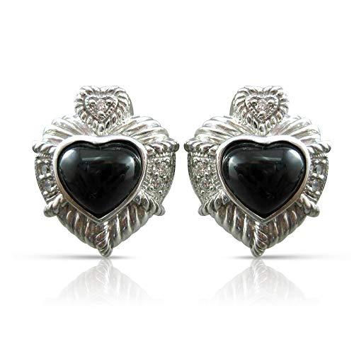 Milano Jewelers Silver 925 Onyx & White Sapphire Heart Judith RIPKA Earrings #20651