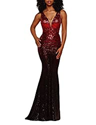 Red Sleevless Ombre Sequins Mermaid Dress