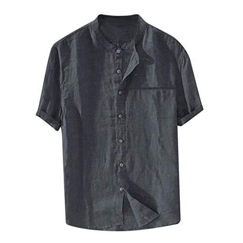 Plus Size Button Down Shirt Men Short Sleeve Cotton Blend 2019 New Retro Casual Tee Loose Top (XXXXXL, Gray)