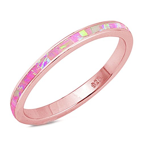 .925 Sterling Silver Womens Lab Created Opal Eternity Wedding Stackable Band Ring Sizes 4-12 -