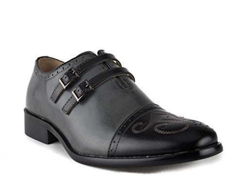 Dress Aldo Black Toe Shoes Grey Cap Leather Monk J'aime Strap Lined Men's Double 95731 FqZgvHZ