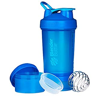 BlenderBottle ProStak System with 22-Ounce Bottle and Twist n' Lock Storage, 22 oz, Cyan