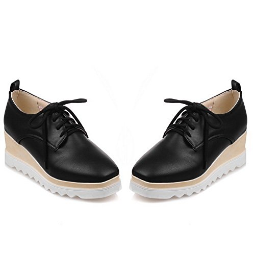 VogueZone009 Women's Square Closed Toe Kitten-Heels Soft Material Solid Lace-up Pumps-Shoes Black qzGjF