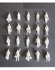 25 x stående modellfigurer, resenärer, vita, för modelljärnväg spår H0, exakt 1:87!!