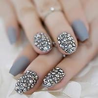 MLZJHH Fake Nails Short Crafted Jewellry Kunstnägel Crystal Bowknot Kunstnägel Deep Purple Short Manicure Tips Kit 24