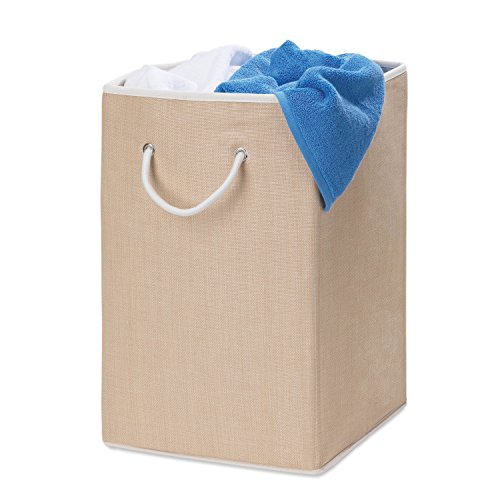 Honey-Can-Do HMP-01453 Sturdy Resin Hamper with Rope Handles, Natural, ()