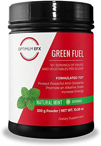 OPTIMUM EFX Green Fuel, All Natural Balanced Superfood Blend, 10+ Servings of Fruits and Vegetables, Recovery, Alkalize, Antioxidant Protection, Keto Friendly - Natural Mint, 30 Servings