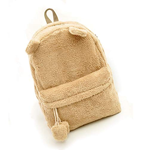 Teenage backpack Fluffy Fur Khaki Bag Bag School Plush Girl Bear Shoulder qSPTS