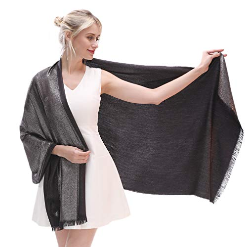 Metallic Wrap Scarf - LMVERNA Women's Sparkling Metallic Reversible Pashmina Shawls And Wraps Scarf For Evening Dresses(Black-Silver)