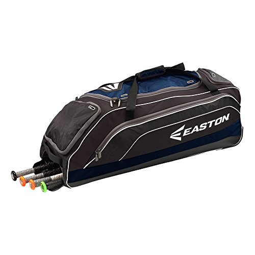 EASTON E700W Bat & Equipment Wheeled Bag | Baseball Softball | 2019 | Navy | 4 Bat Compartment | Vented Pockets - Minimize Odor & Quick Dry | Lockable Zippered - Easton Kids Bag