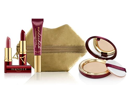 Wander Beauty Jetsetter Makeup Essentials Kit! Kit Includes A Wanderlust Powder Foundation, Wanderout Dual Lipstick, And Unlashed Volume and Curl Mascara! Set Comes In A Mini Pucker Up Pouch! (Medium)