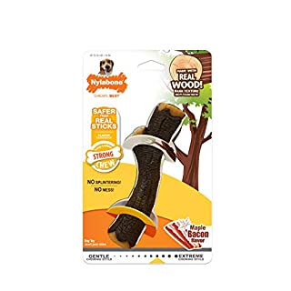 Nylabone Strong Chewing Real Wood Stick Strong Dog Stick Chew Toy Maple Bacon Wolf, Medium/Wolf, Brown, Model:NBS502P