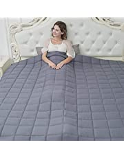 CuteKing Cooling Weighted Blanket (104''x88'' 25lbs) King or California King Size for Individual or Couples Between 150-200lbs, 100% Oeko-Tex Certified Cotton with Glass Beads, Dark Grey