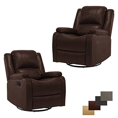 Cheap RecPro Set of 2 Charles Collection | 30″ Swivel Glider RV Recliner | RV Living Room (Slideout) Chair | RV Furniture | Glider Chair | Mahogany